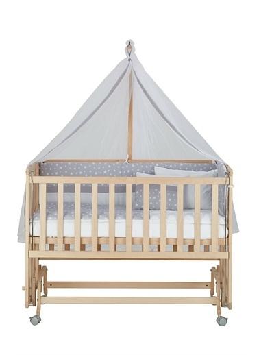Babycom Naturel Ahşap Boyasız Anne Yanı Beşik 70 X 130 - Tekerlekli - Kademeli Beşik + Kahve Zikzak Uyku Seti Gri